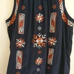 Anthropologie Meadow Rue Tribal Embroidered Tank M